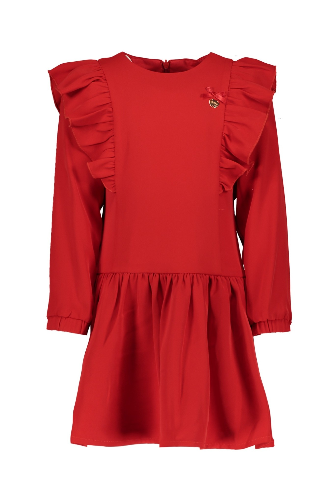 Lechic Le Chic Red Dress with Ruffle Sleeve