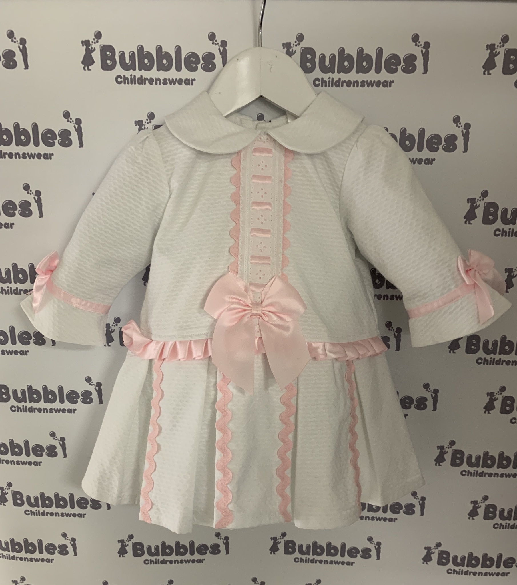 Wee Me Wee Me White Dress with Pink Bow