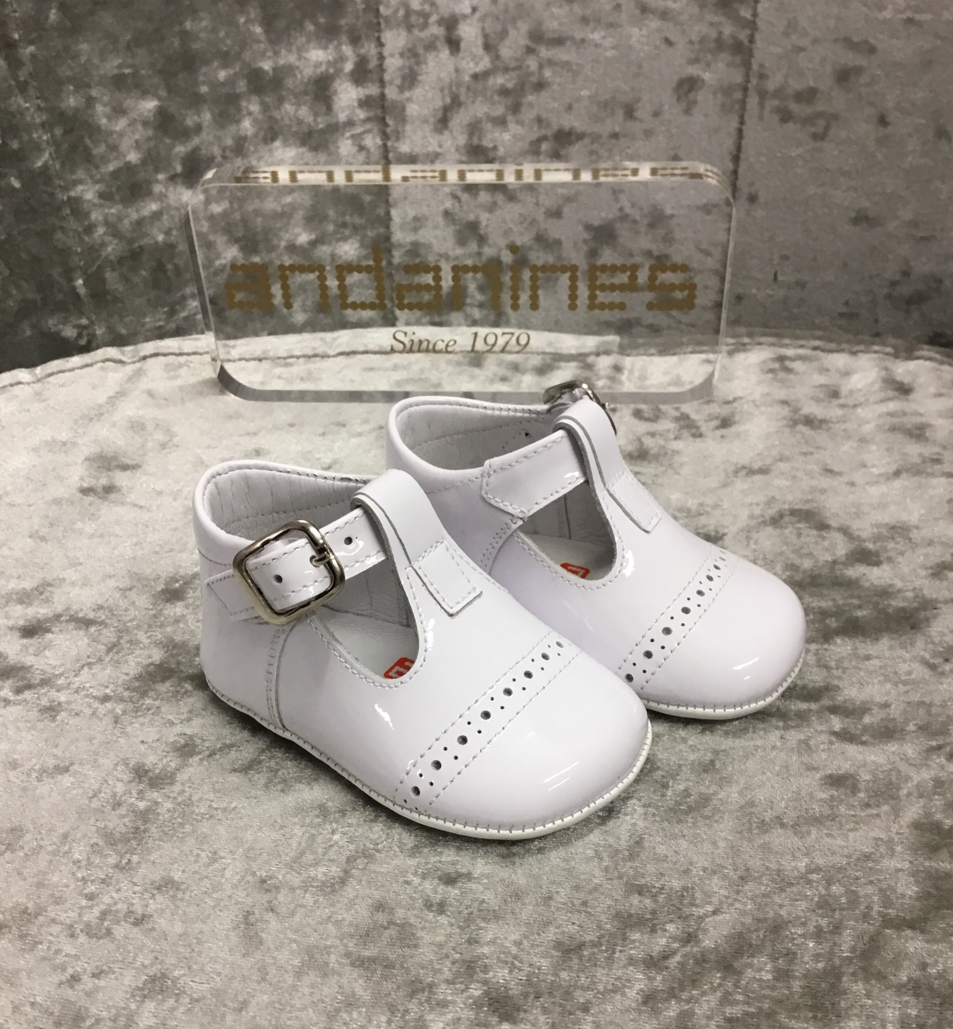 Andanines Andanines White Patent Pram Shoes