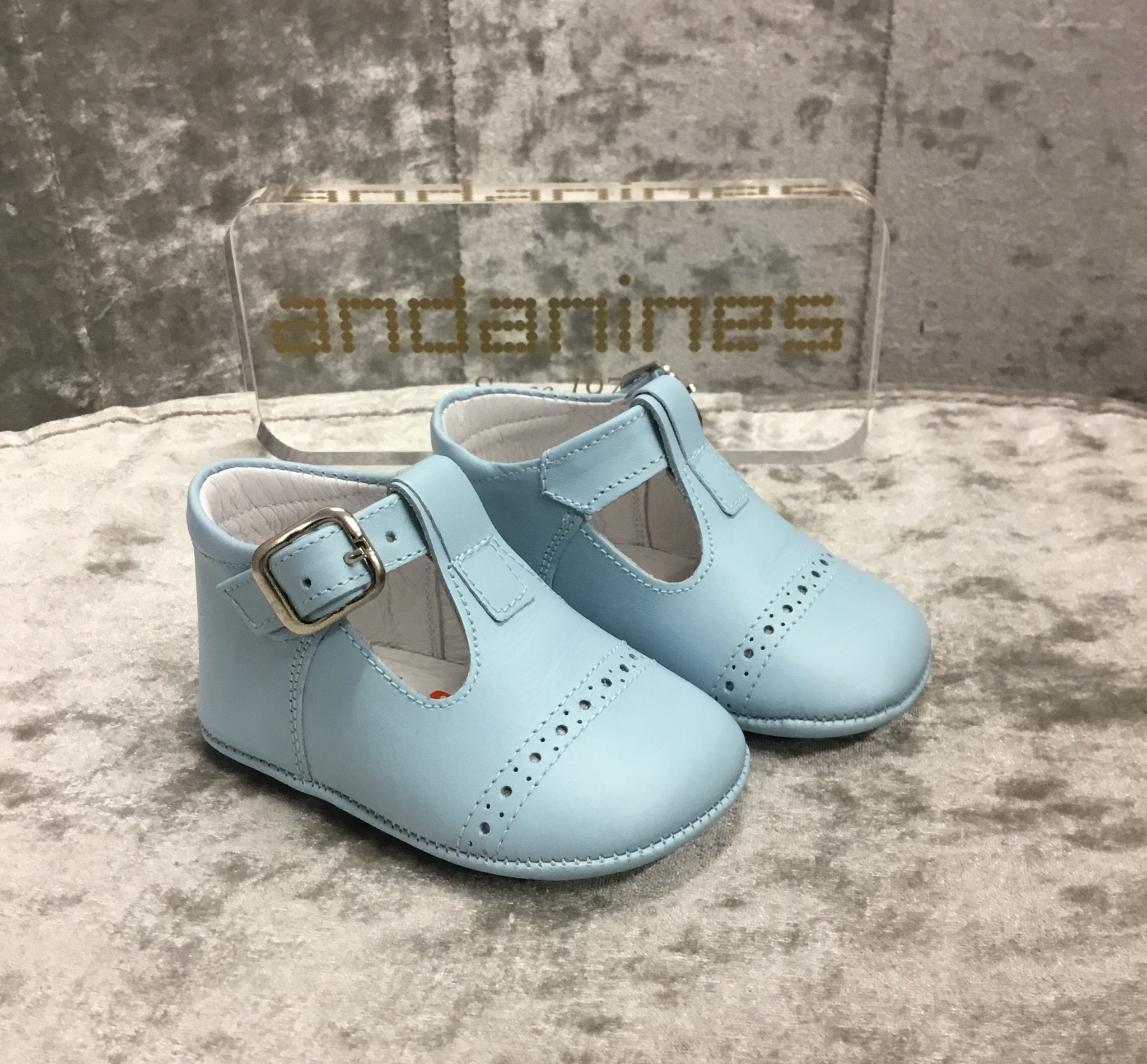 Andanines Andanines Blue Leather Pram Shoes