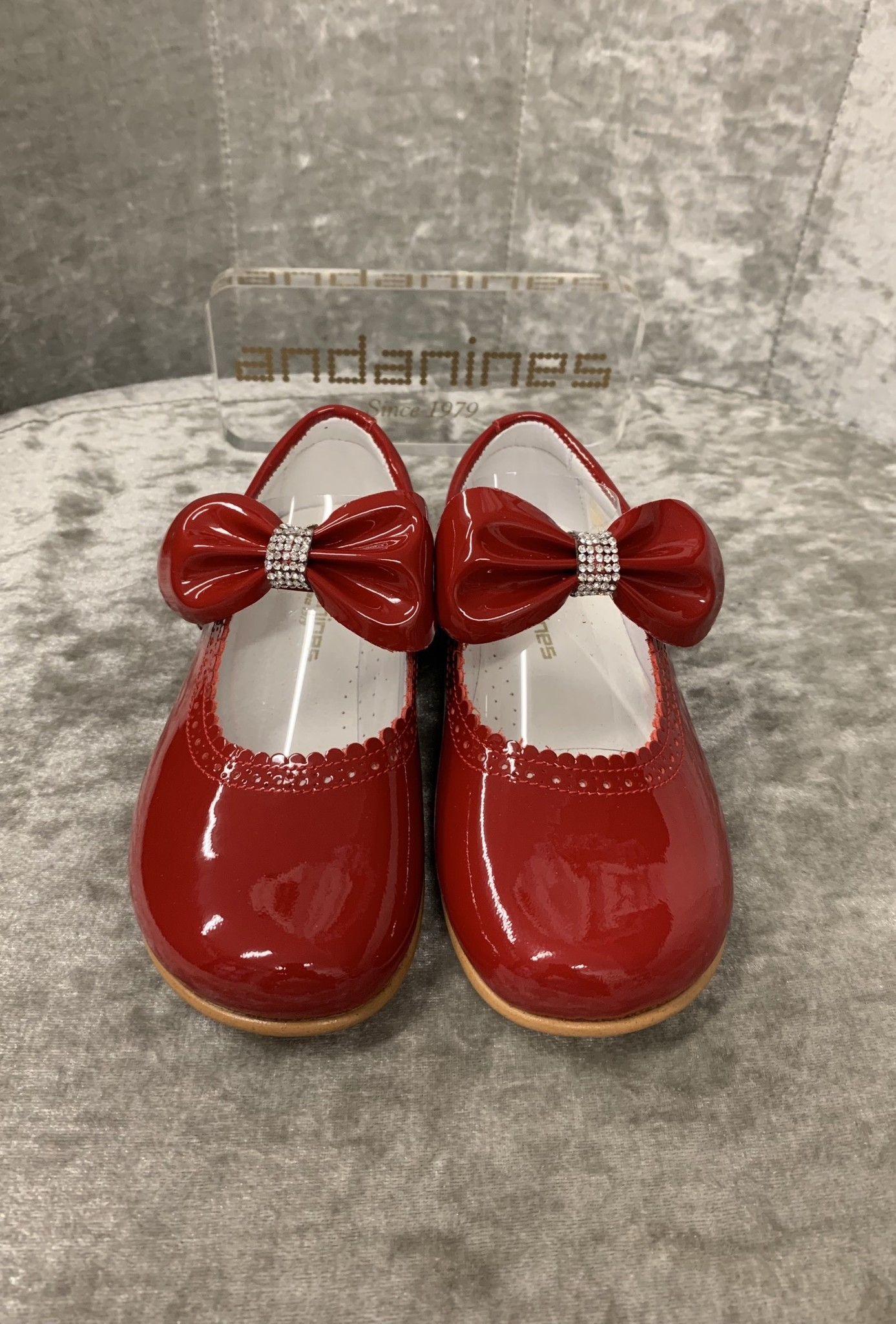 Andanines Andanines Red Shoe with Bow and Diamante Detail