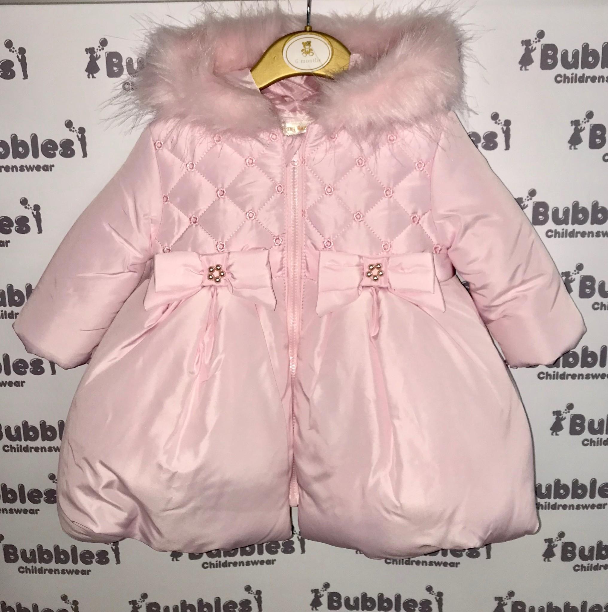 Mintini Mintini Pink Coat With Fur Trim Collar
