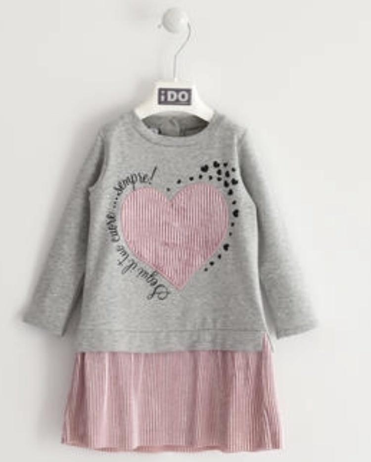 Ido iDO Grey Jersey Dress with Shimmer Skirt