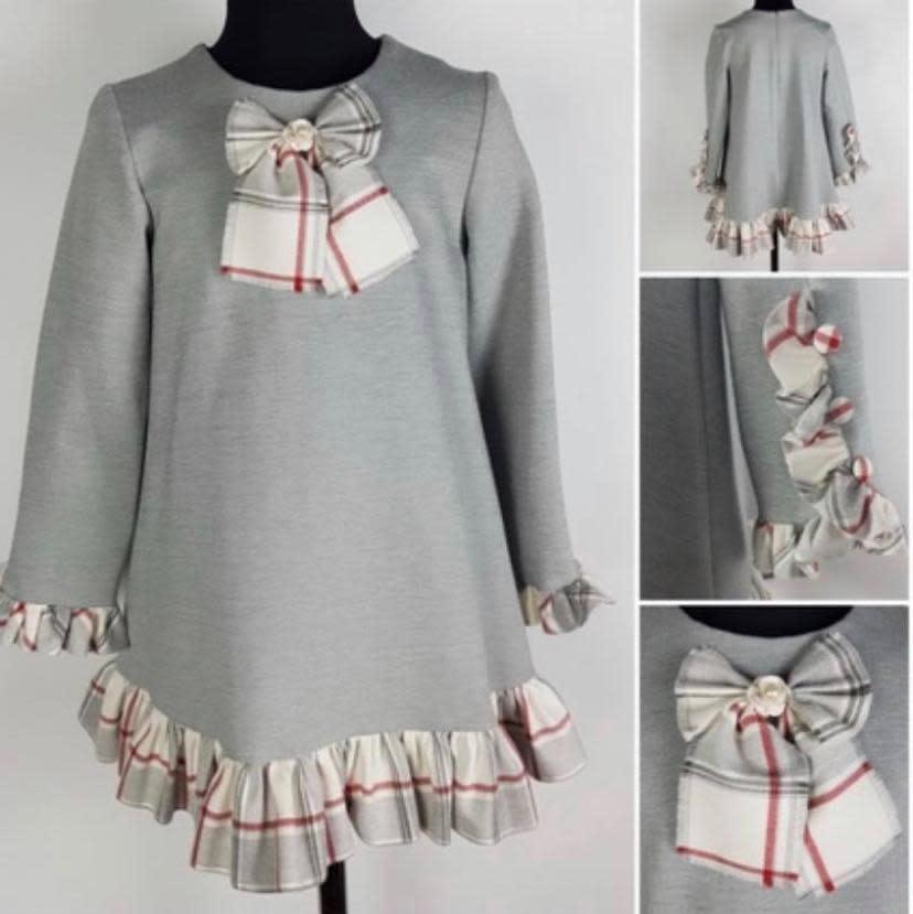 Daga Daga Grey Dress with Tartan Trim