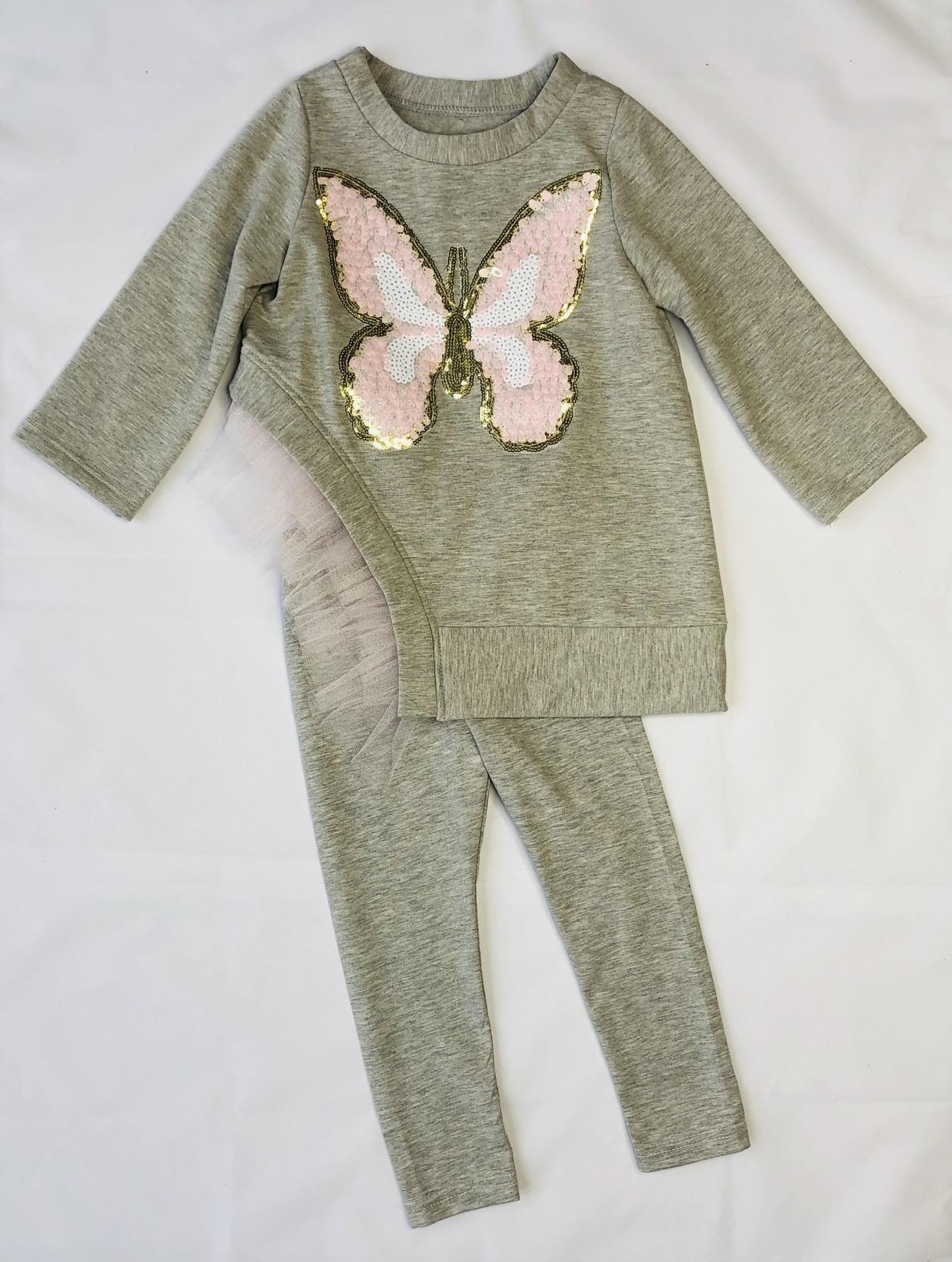 Daga Daga Grey Butterfly 2 Piece Legging Set
