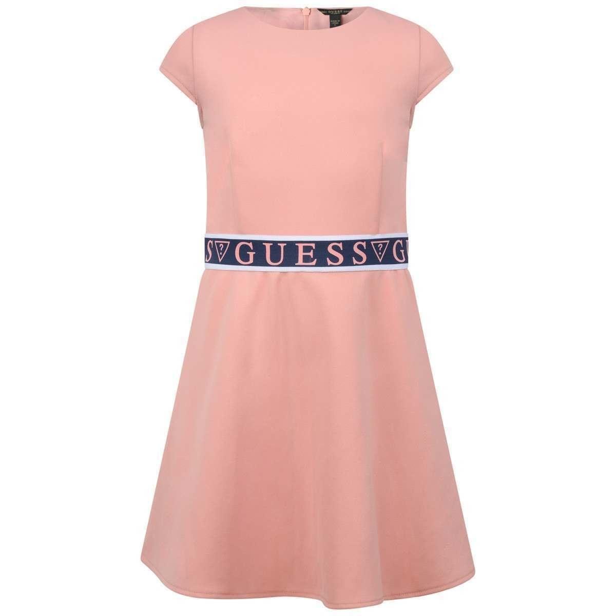 Guess Guess Pink Dress with Logo Band Waist