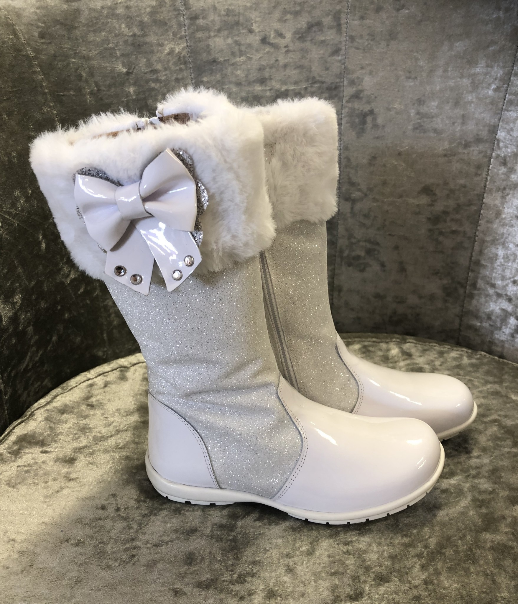 Andanines ANDANINES WHITE GLITTER BOOTS