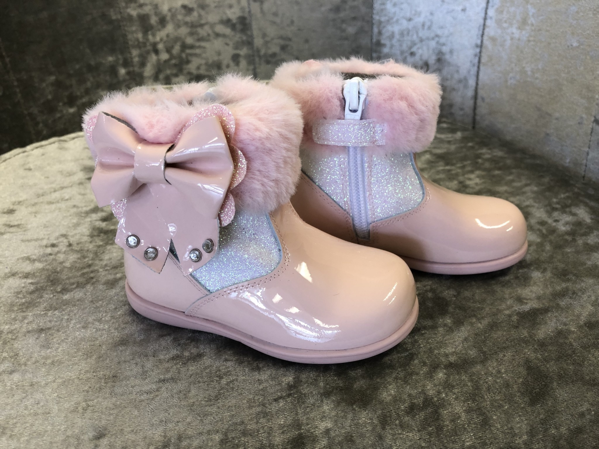 Andanines Andanines Pink Glitter Boots With Bow