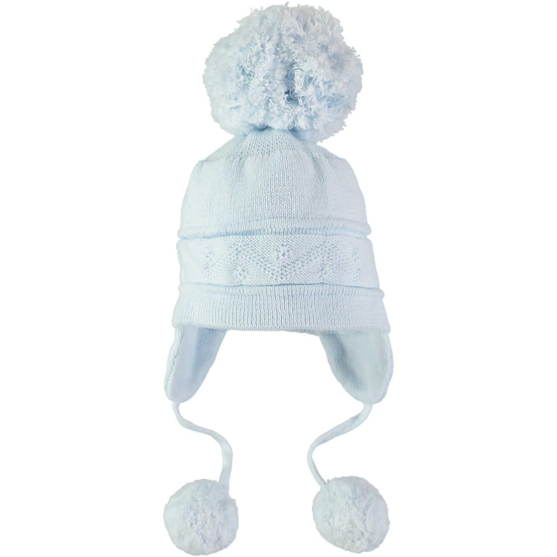 Emile et Rose Emile Et Rose 4713PB Blue Knit Bobble Hat
