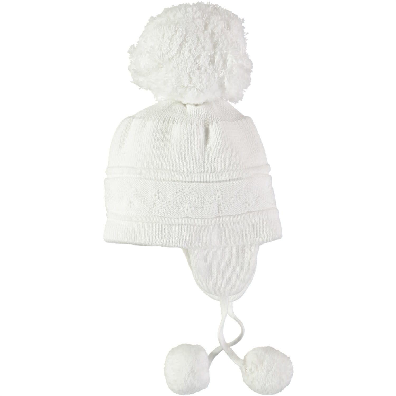Emile et Rose Emile Et Rose 4713WH White Knit Bobble Hat