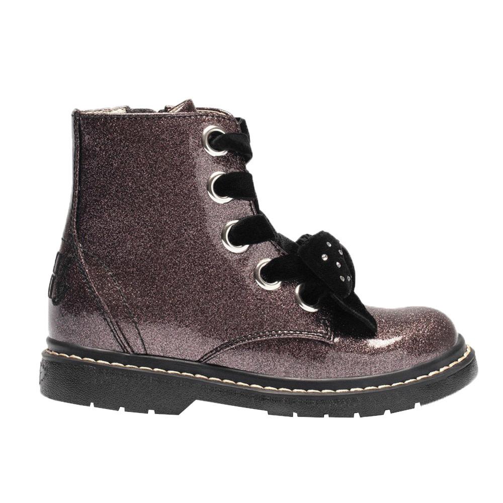 Lelli Kelly LELLI KELLY LK6522 Pewter Glitter Crystal Bow Ankle Boot