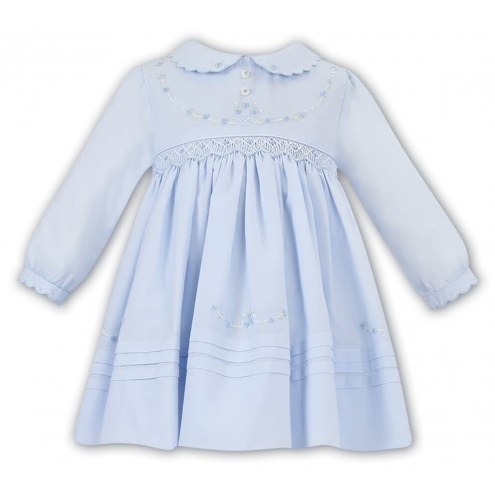 Sarah Louise Sarah Louise 011645 Blue Smocked Long Sleeve Dress
