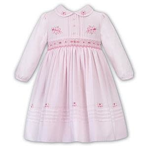 Sarah Louise Sarah Louise 011658 Pink Smock Dress with Flowers & Bow Detail