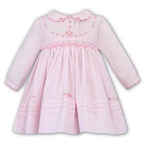 Sarah Louise Sarah Louise 011645 Pink Smock Dress With Rose Detail