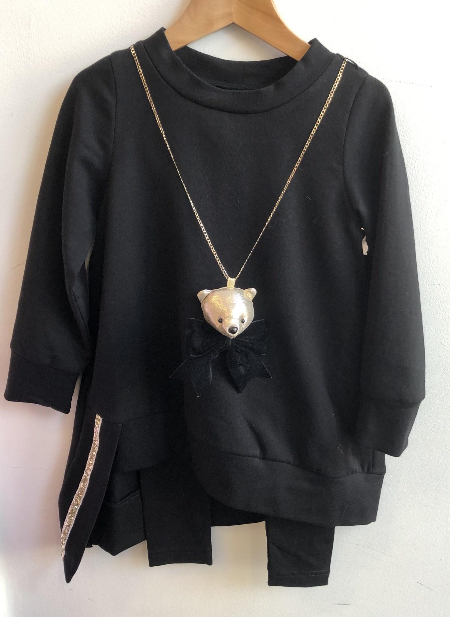 Daga Daga Black Legging Set With Bear Necklace