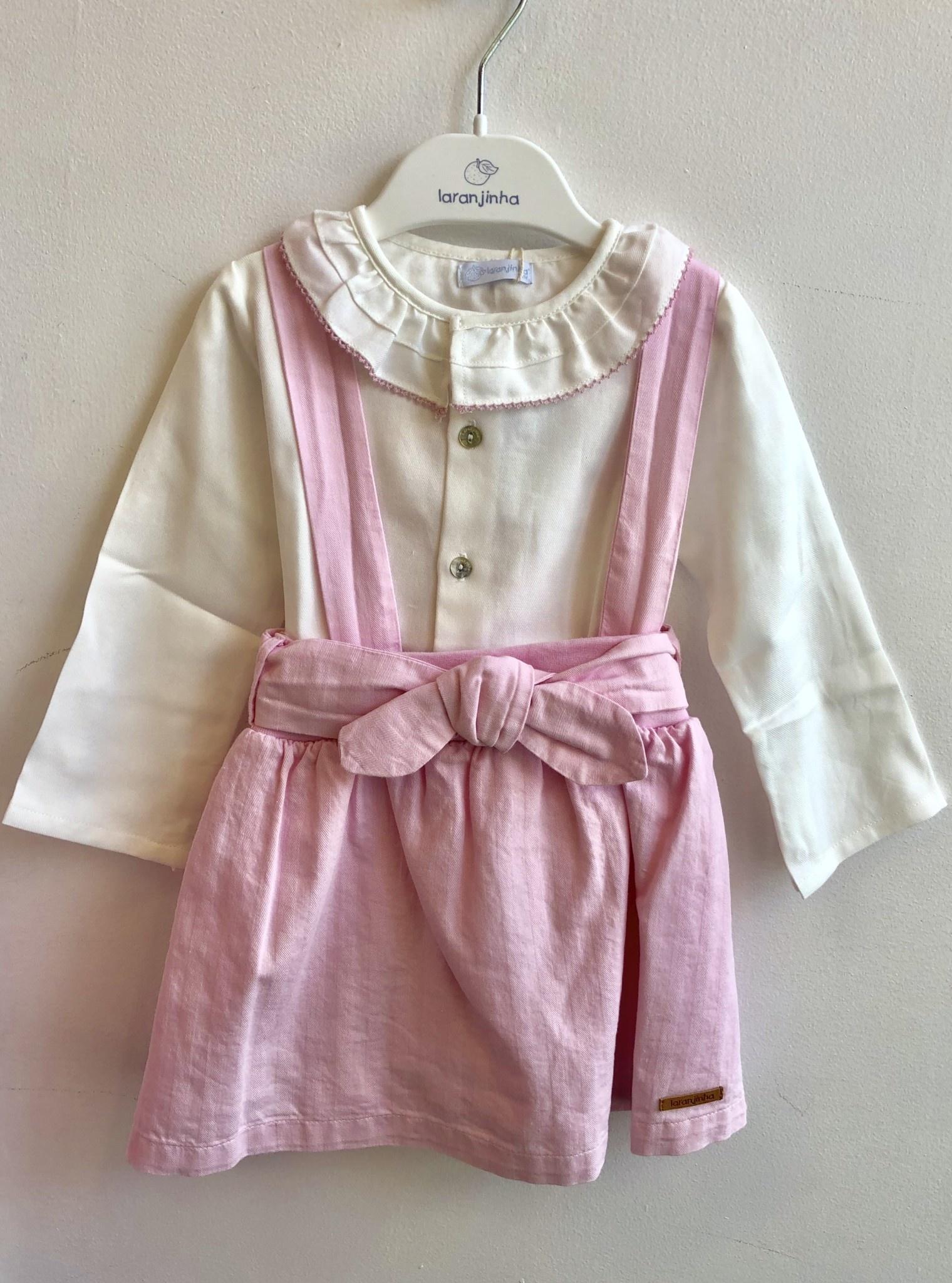 Larajinha Laranjinha pink skirt and body with frill collar