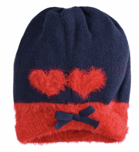 Ido iDO Girls Navy and Red Hat & Scarf Set