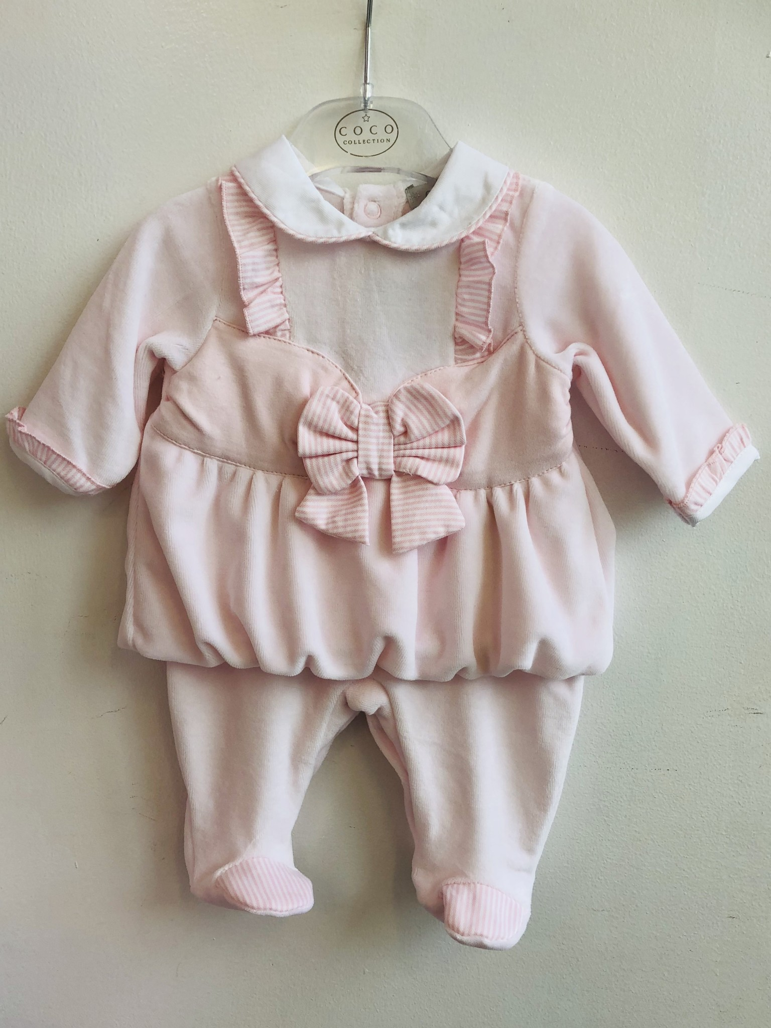 Coco Collection Coco Collection Pink velour All In One & Hat