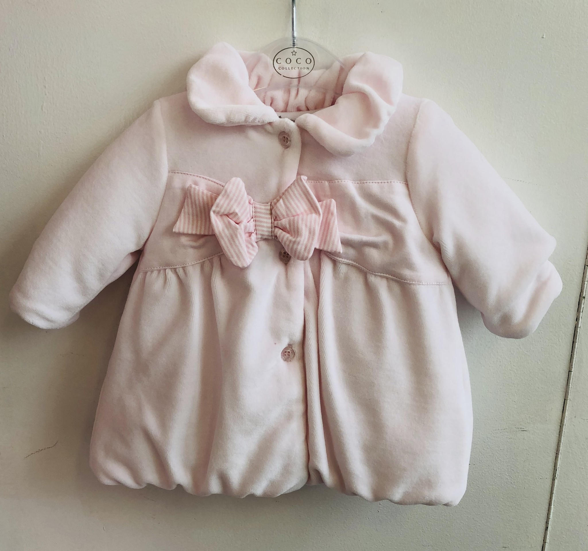 Coco Collection Coco Collection Pink Velour Jacket & Hat Set