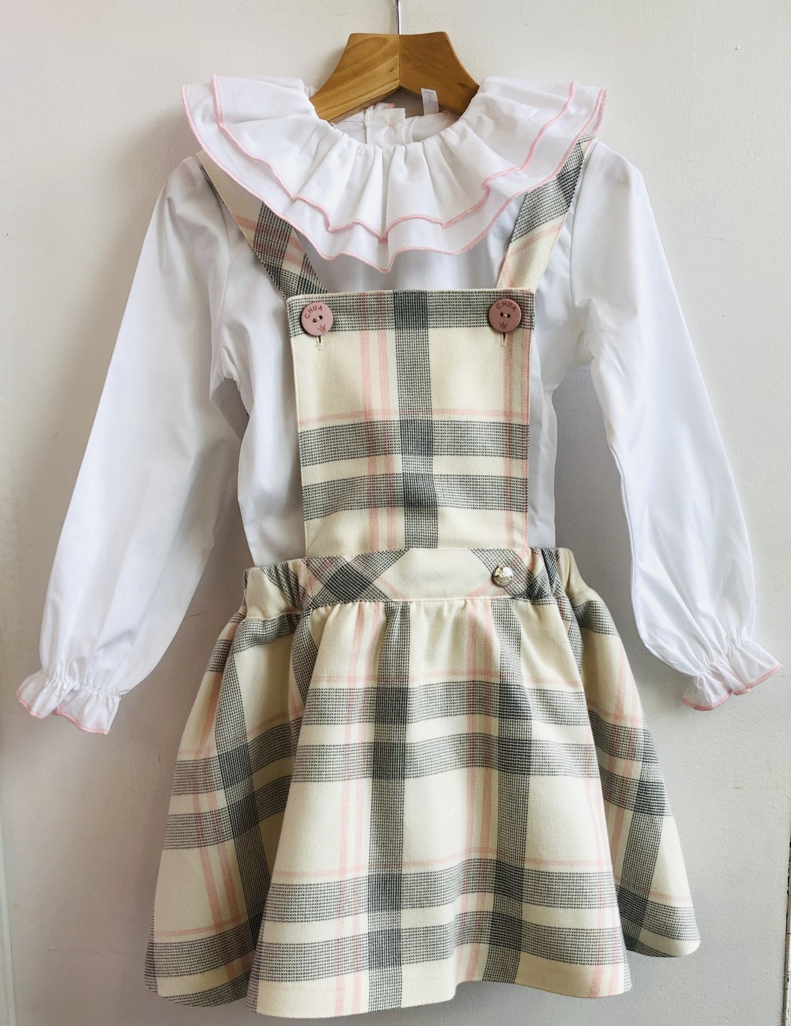 Chua 2 Piece blouse & Checked Skirt Set Pink/Cream