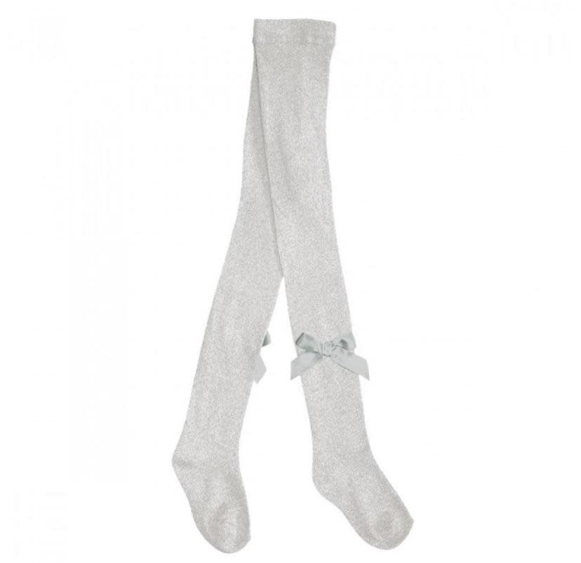 Pex Pex Silver Tights With Bow Detail