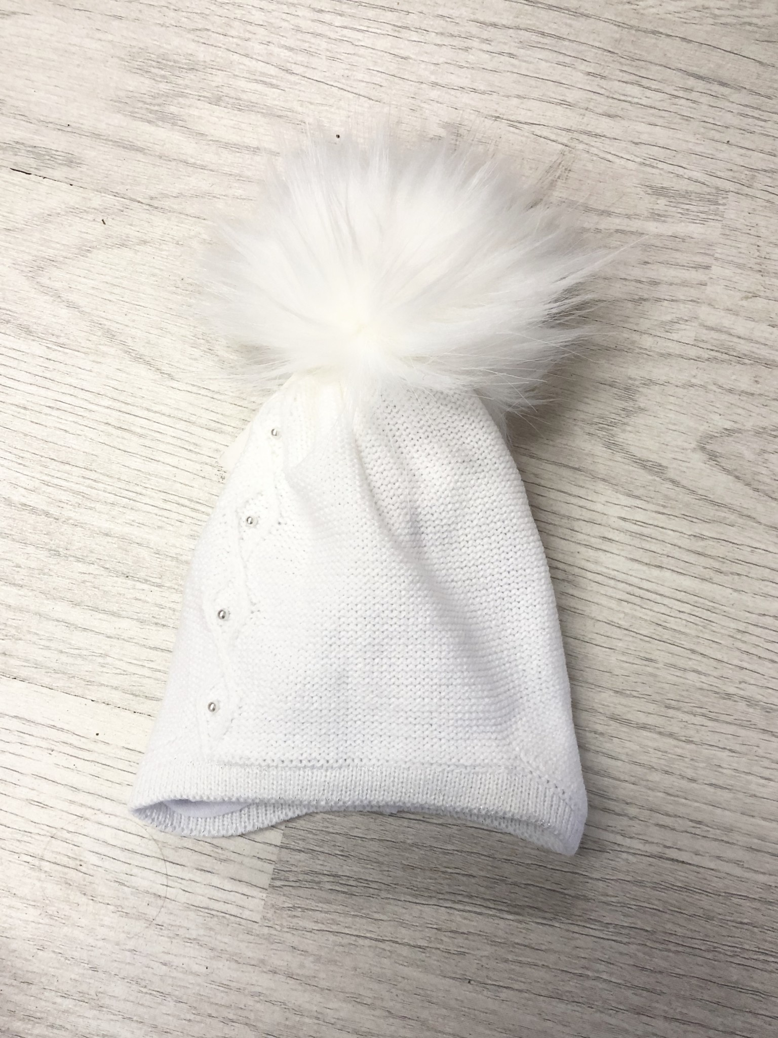 Pex Pex Knit White Hat With Faux Fur Pom & Pearl Detail