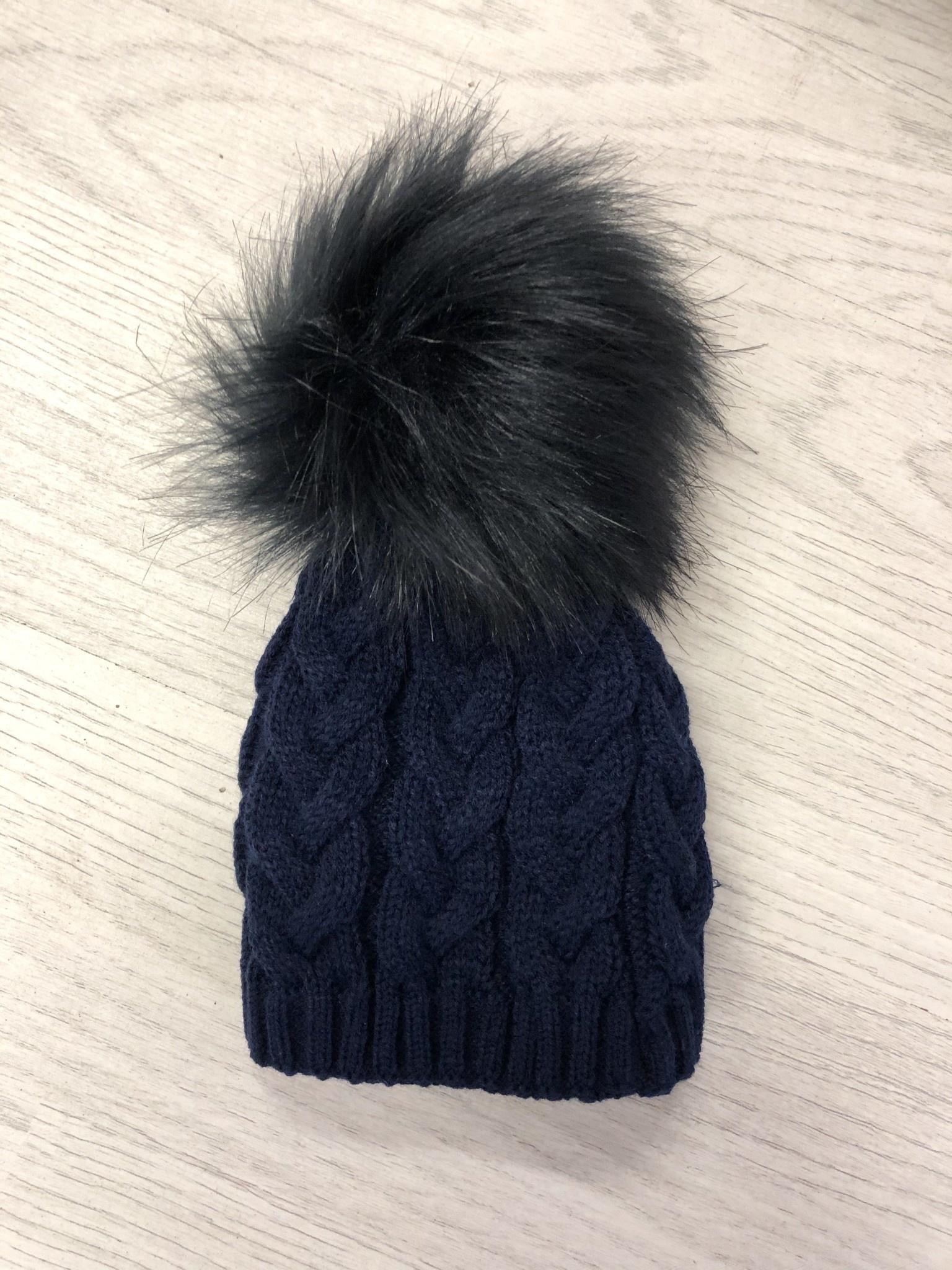 Pex Pex Knit Navy Hat With Faux Fur Pom