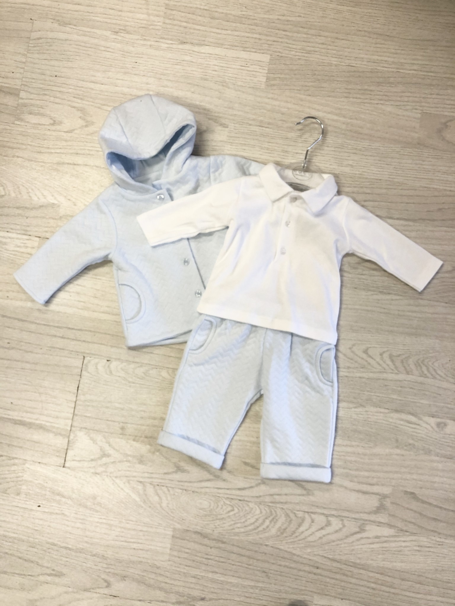 Coco Collection CoCo Boys Chevron 3 Piece Suit, Pale Blue / White
