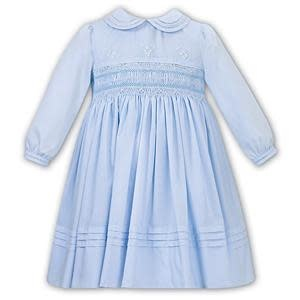 Sarah Louise Sarah Louise 011655-2 Blue Long Sleeve Smock Dress