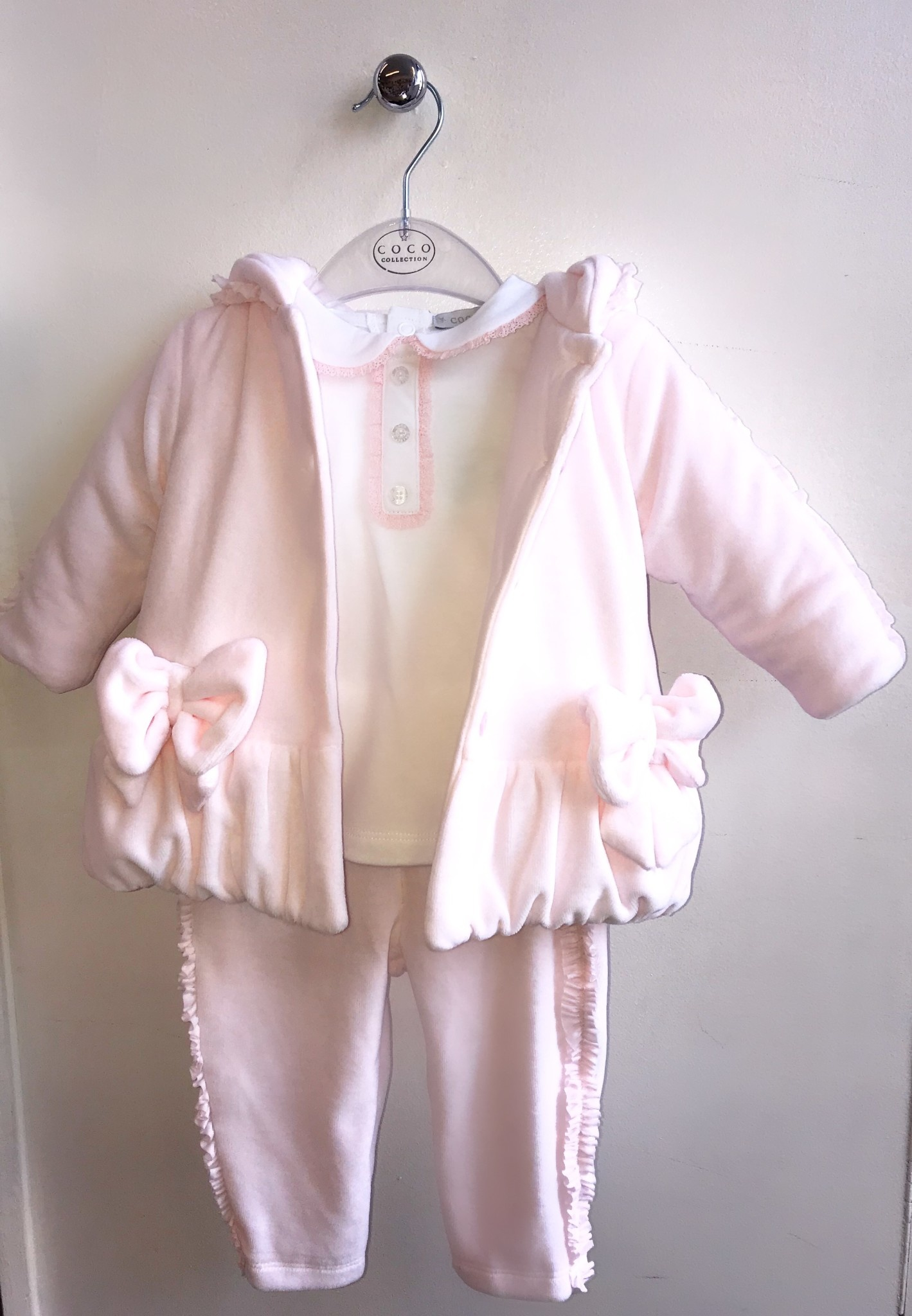 Coco Collection CoCo Pink Velour 3 Piece Top, Trousers & Jacket Set
