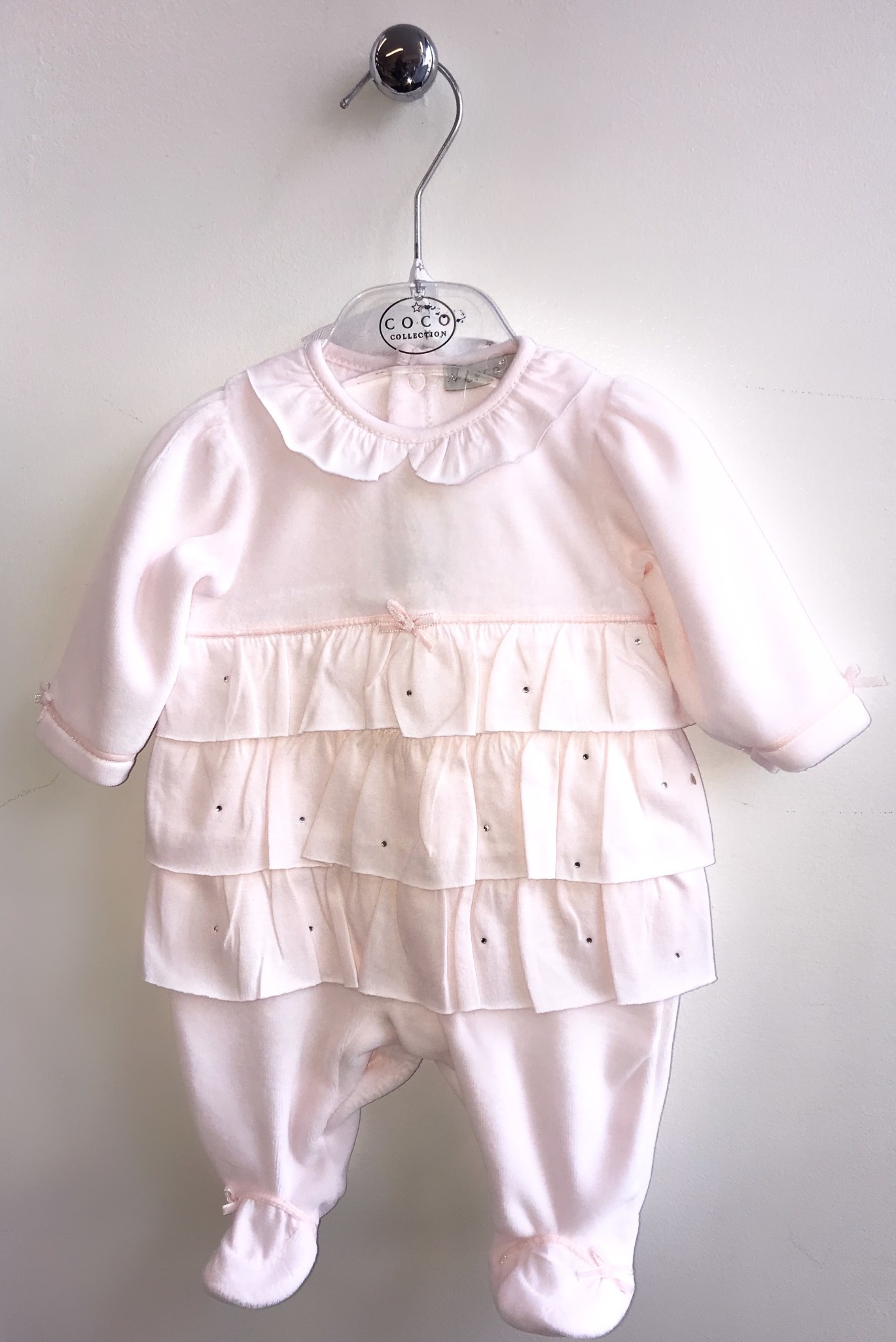 Coco Collection CoCo Pink Velour All In One With Frill & Hat
