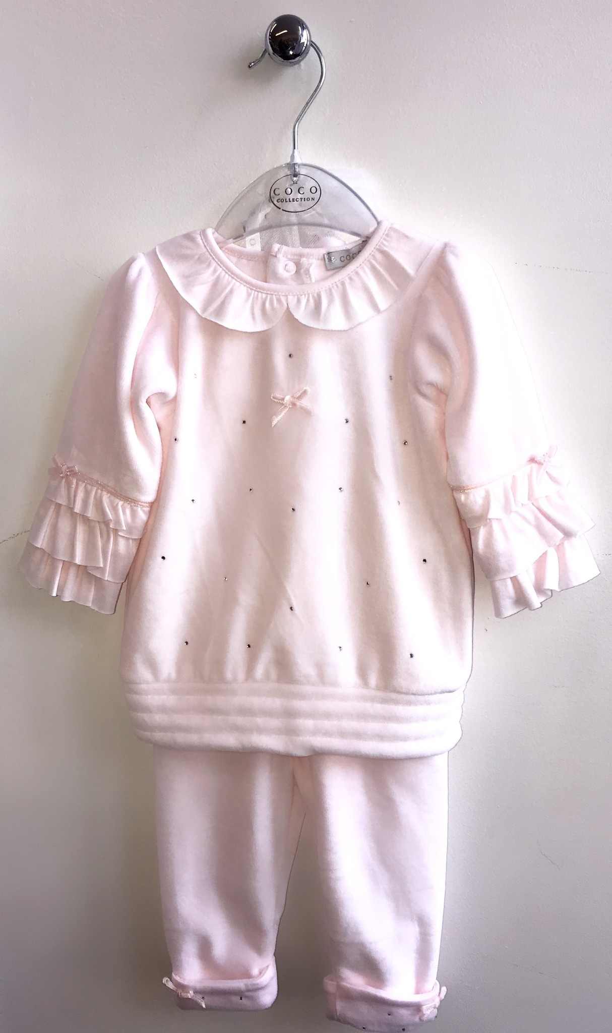 Coco Collection CoCo Pink Velour Tunic, Legging & Hat Set