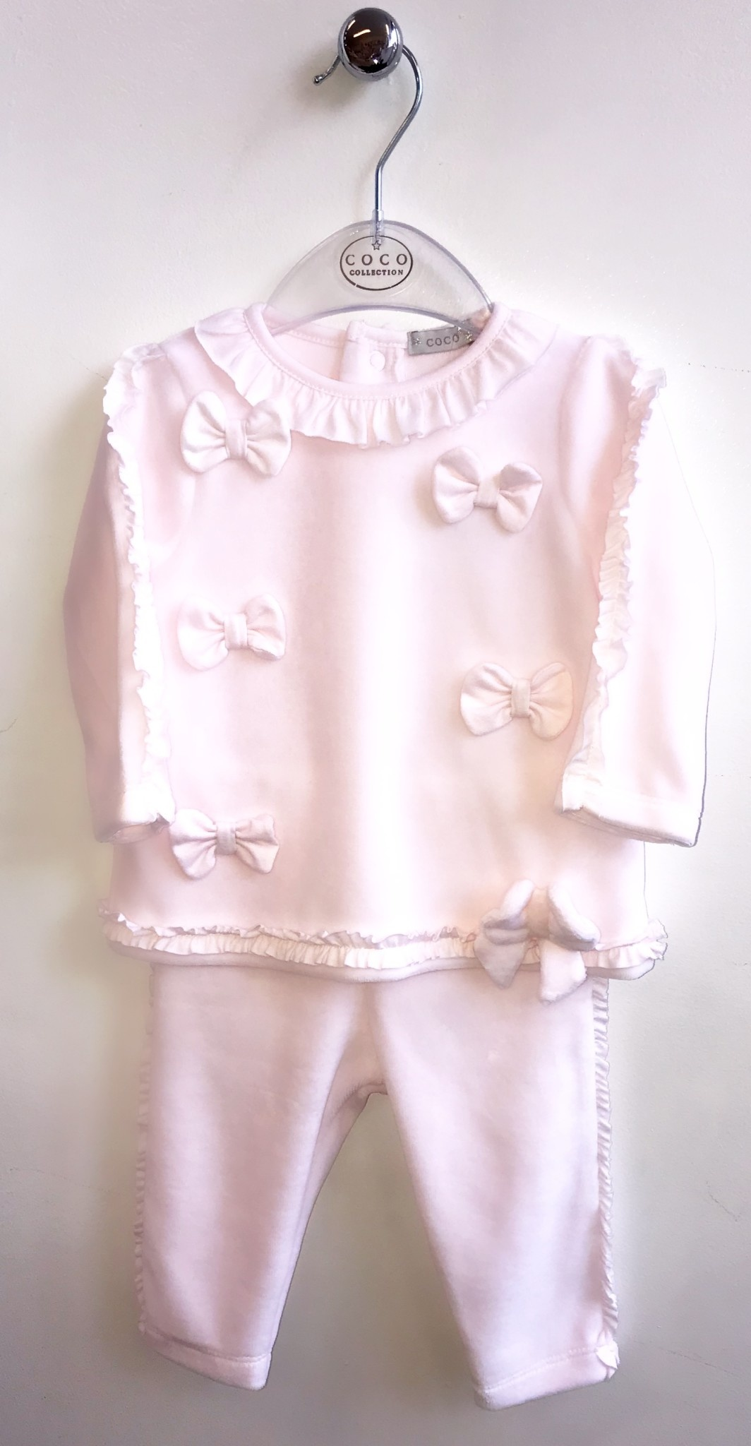 Coco Collection CoCo pink Velour Two Piece with Bow Details