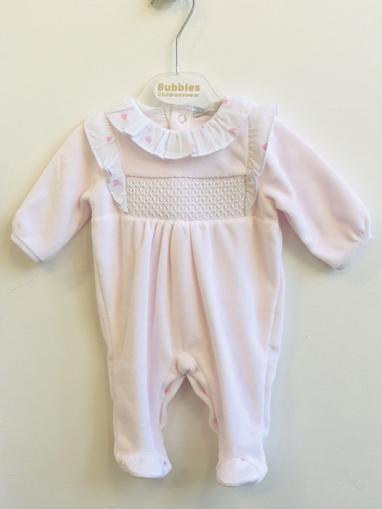 Coco Collection CoCo Pink Velour Babygrow with Heart Ruffle & Hat