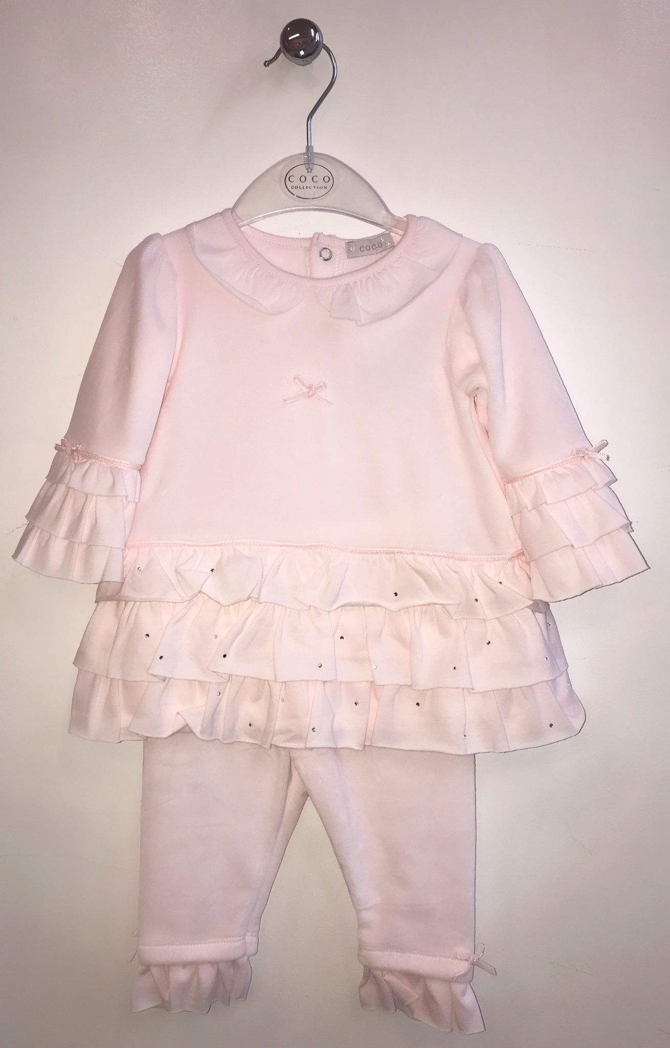 Coco Collection Coco Pink Velour 3 Piece with Ruffles