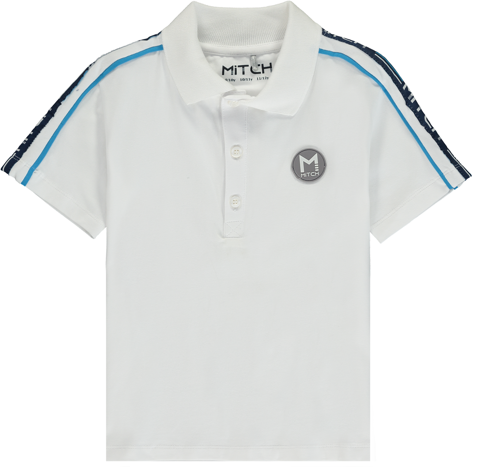 Mitch and Son Mitch Connor White Logo Tape Polo Shirt
