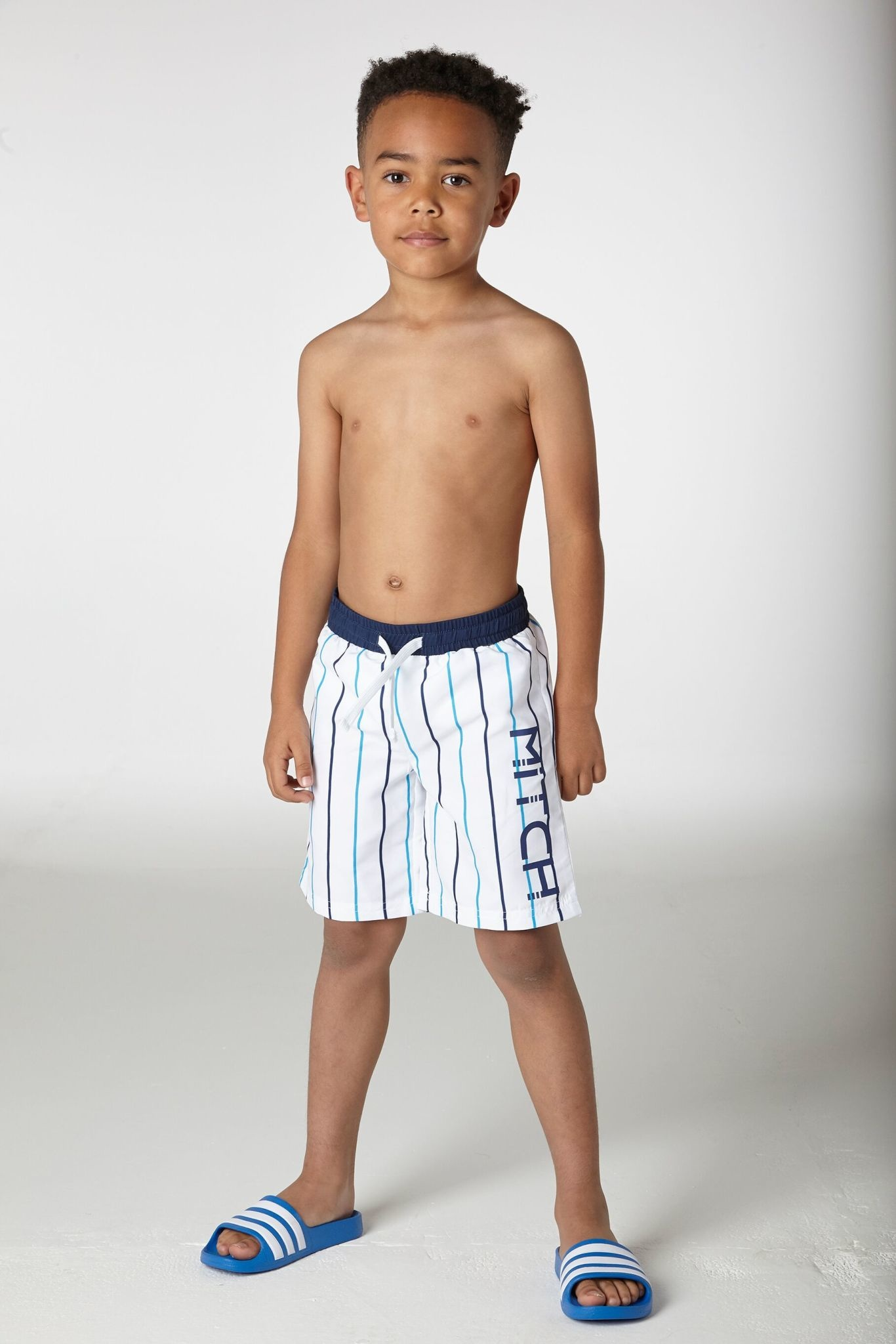 Mitch and Son Mitch Robert White Stripe Swim Short