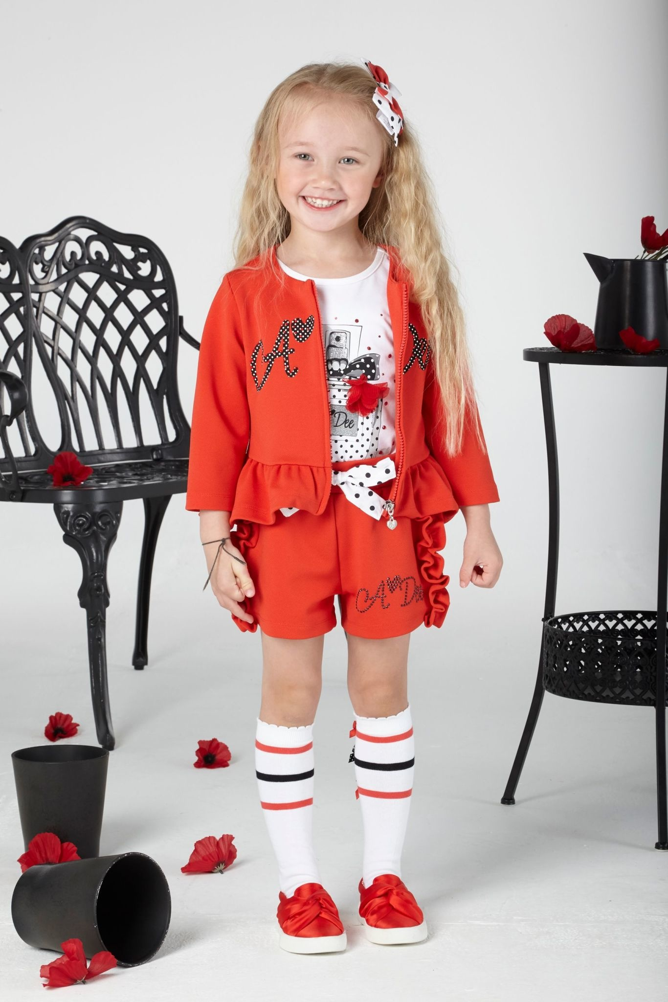 A Dee ADee Azalea Poppy Red Textured Fleece Shorts
