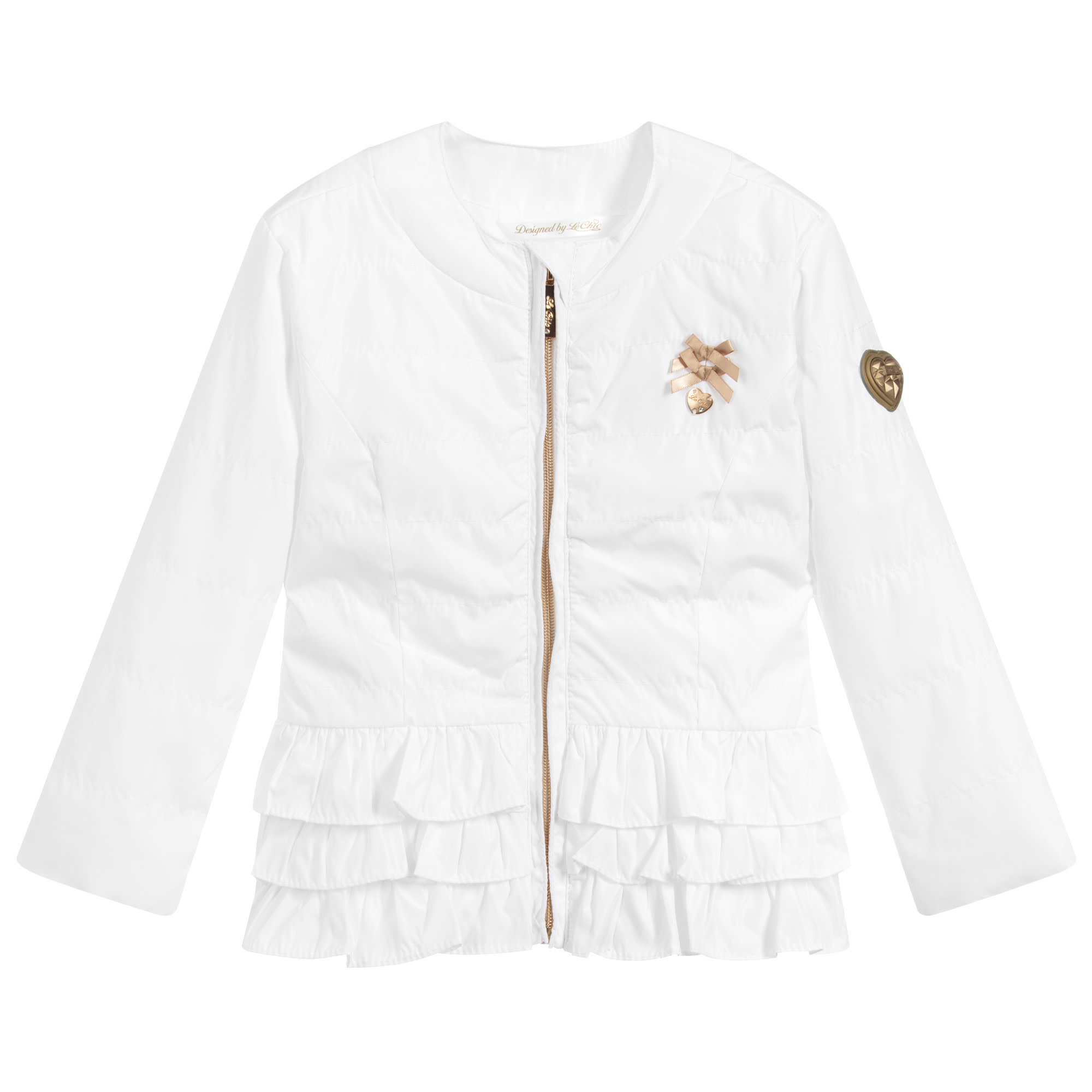 Lechic LeChic White Short Ruffle Plain Coat 5212