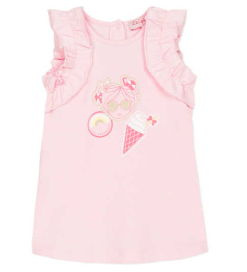 Lili Gaufrette Lili Gaufrette Pink Frill Sleeve Dress