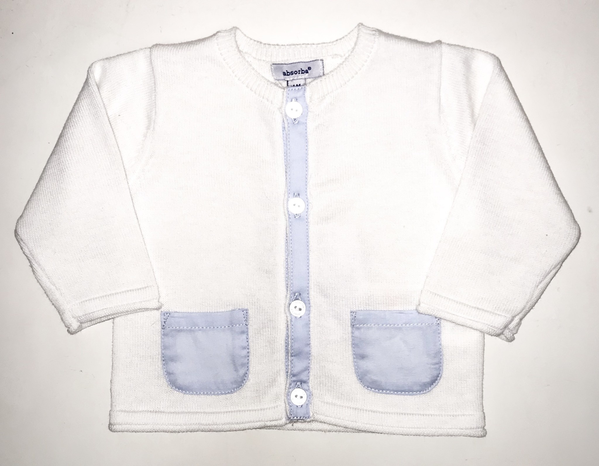 Absorba Absorba White Cardigan with Blue Pockets
