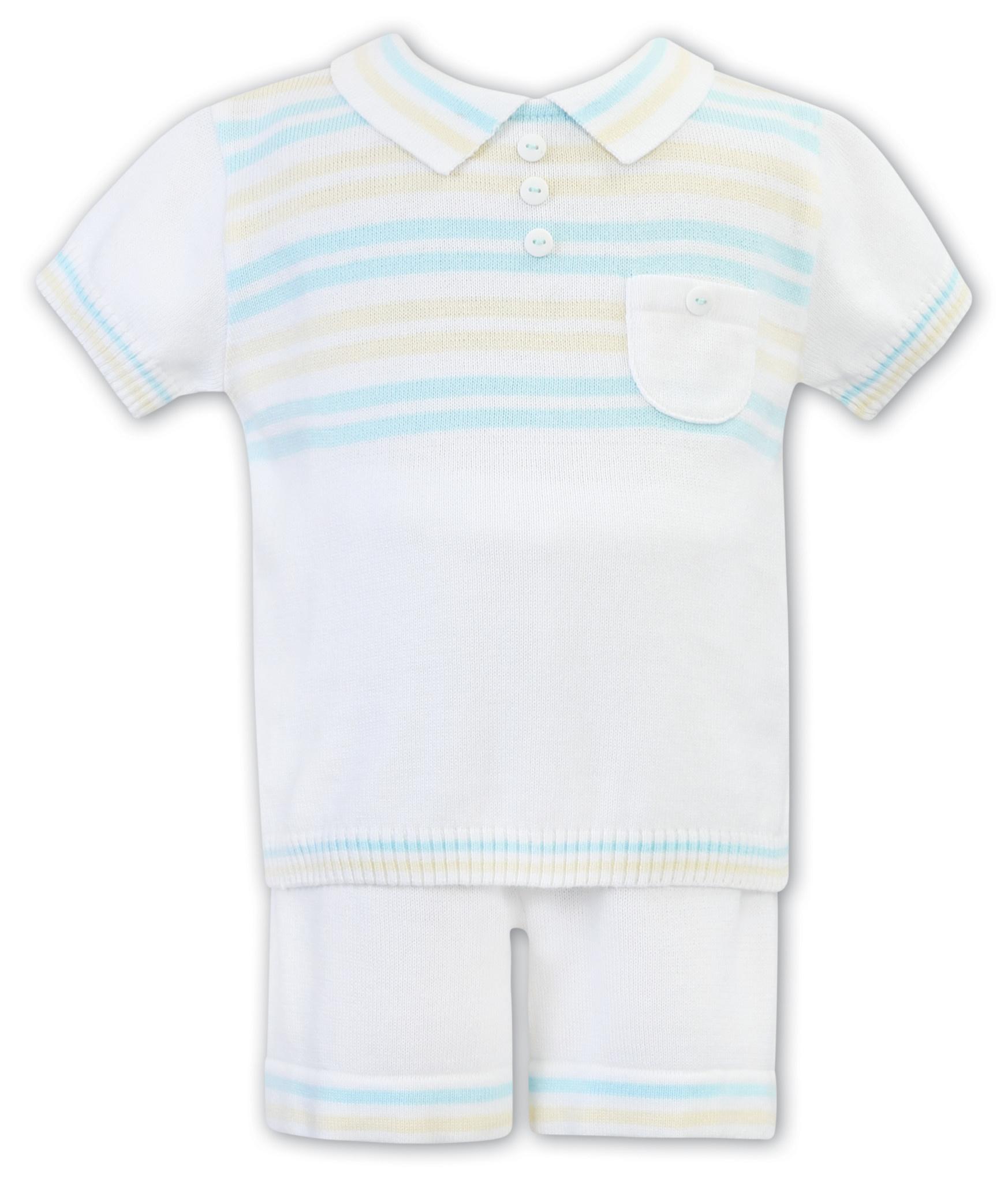 Sarah Louise Sarah Louise Boys Knitted White Short Set