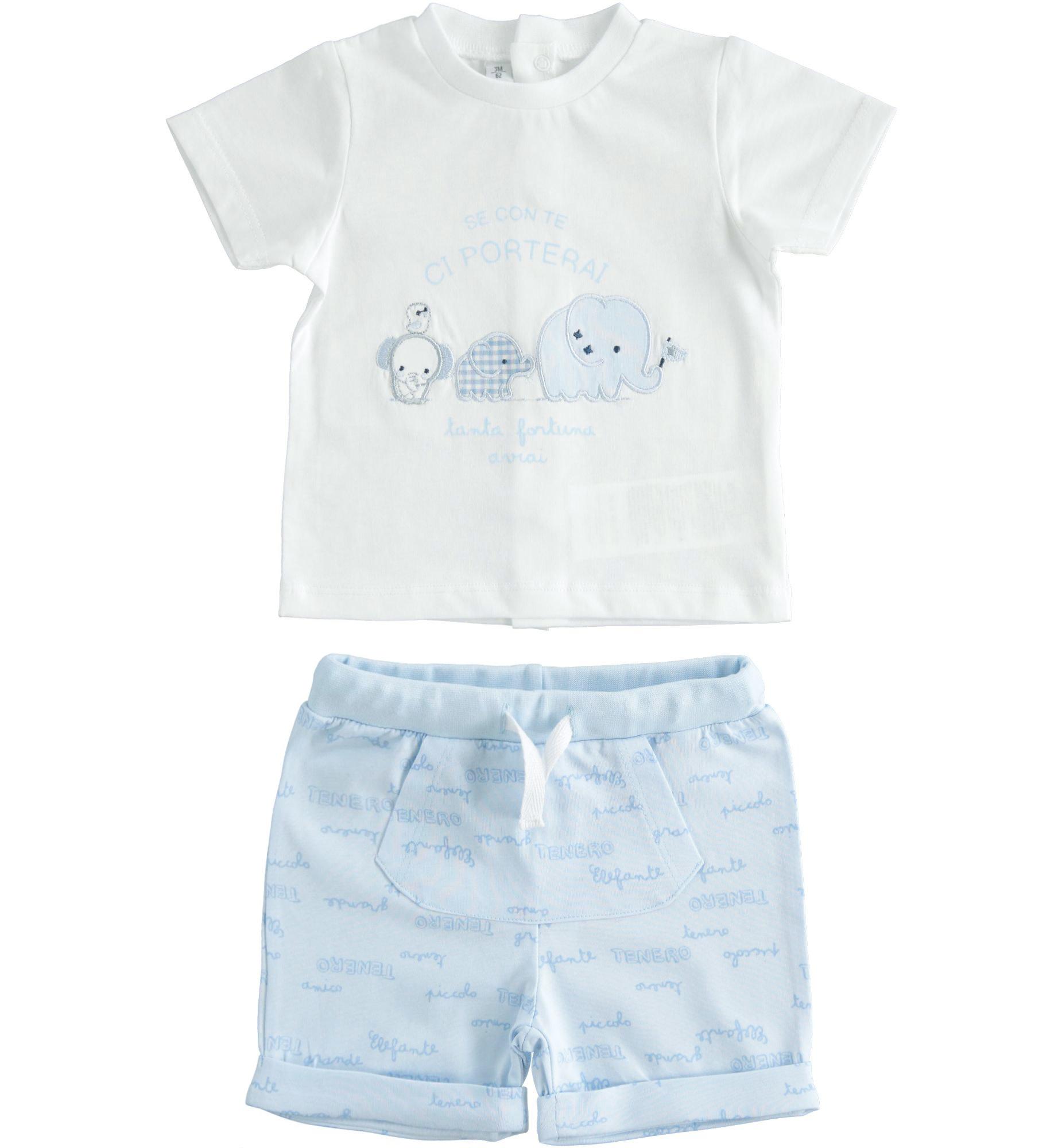 Ido Ido Pale Blue & White Elephant Short Set