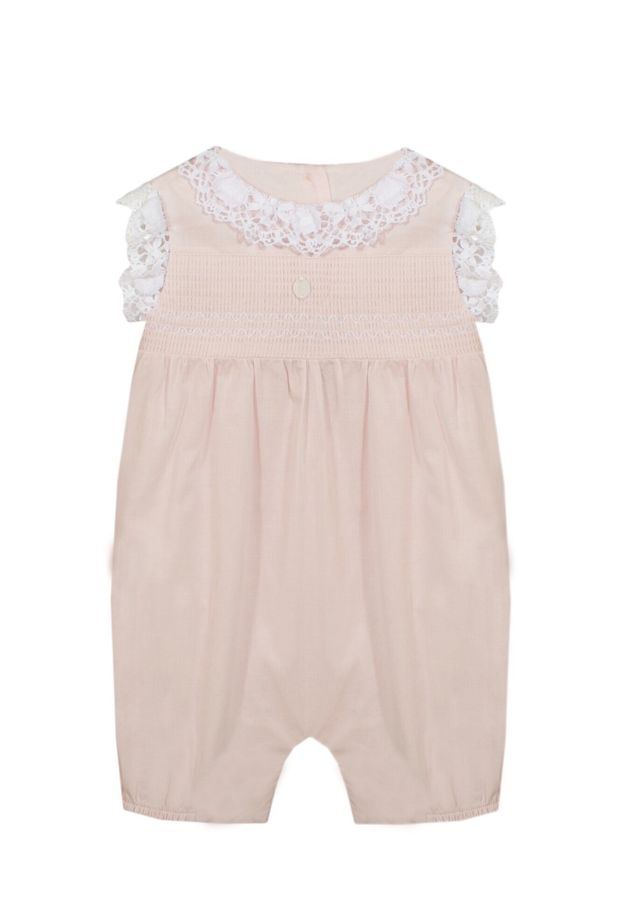 Patachou Patachou Baby 041 Pink Romper with Lace Collar