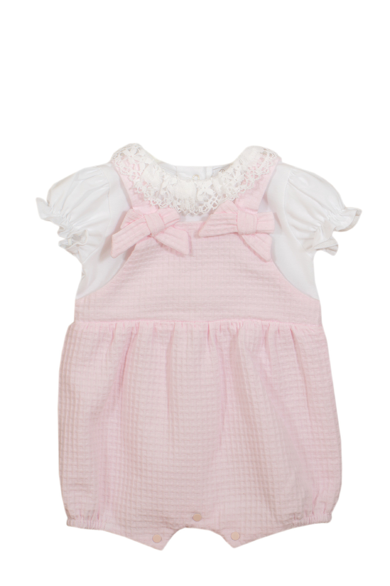 Patachou Patachou Baby 045 Pink & White Romper With Two Bows
