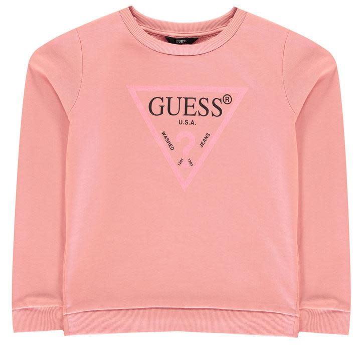 Guess Guess Girls Pink Jumper with Glitter Logo