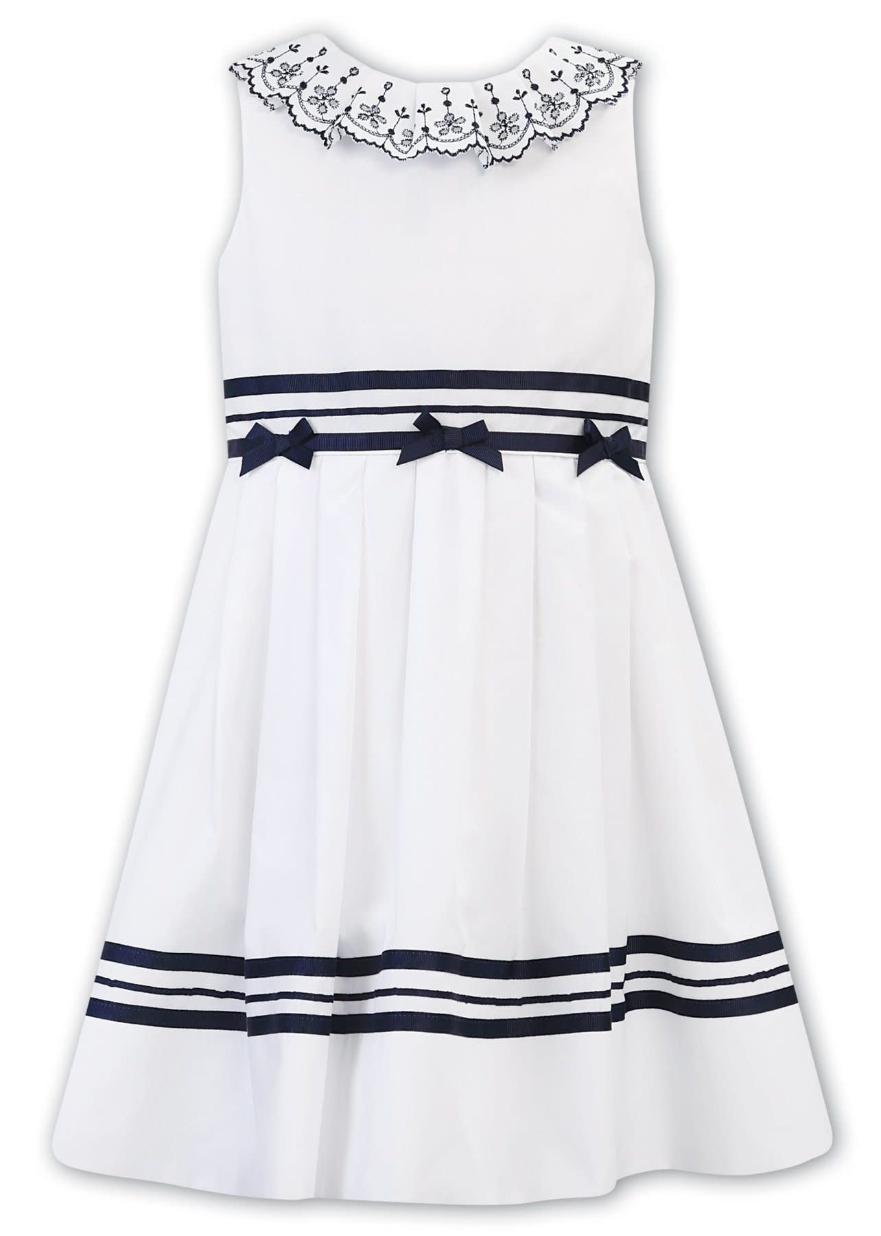 Sarah Louise Sarah Louise 011883 White & Navy Dress with 3 Bows