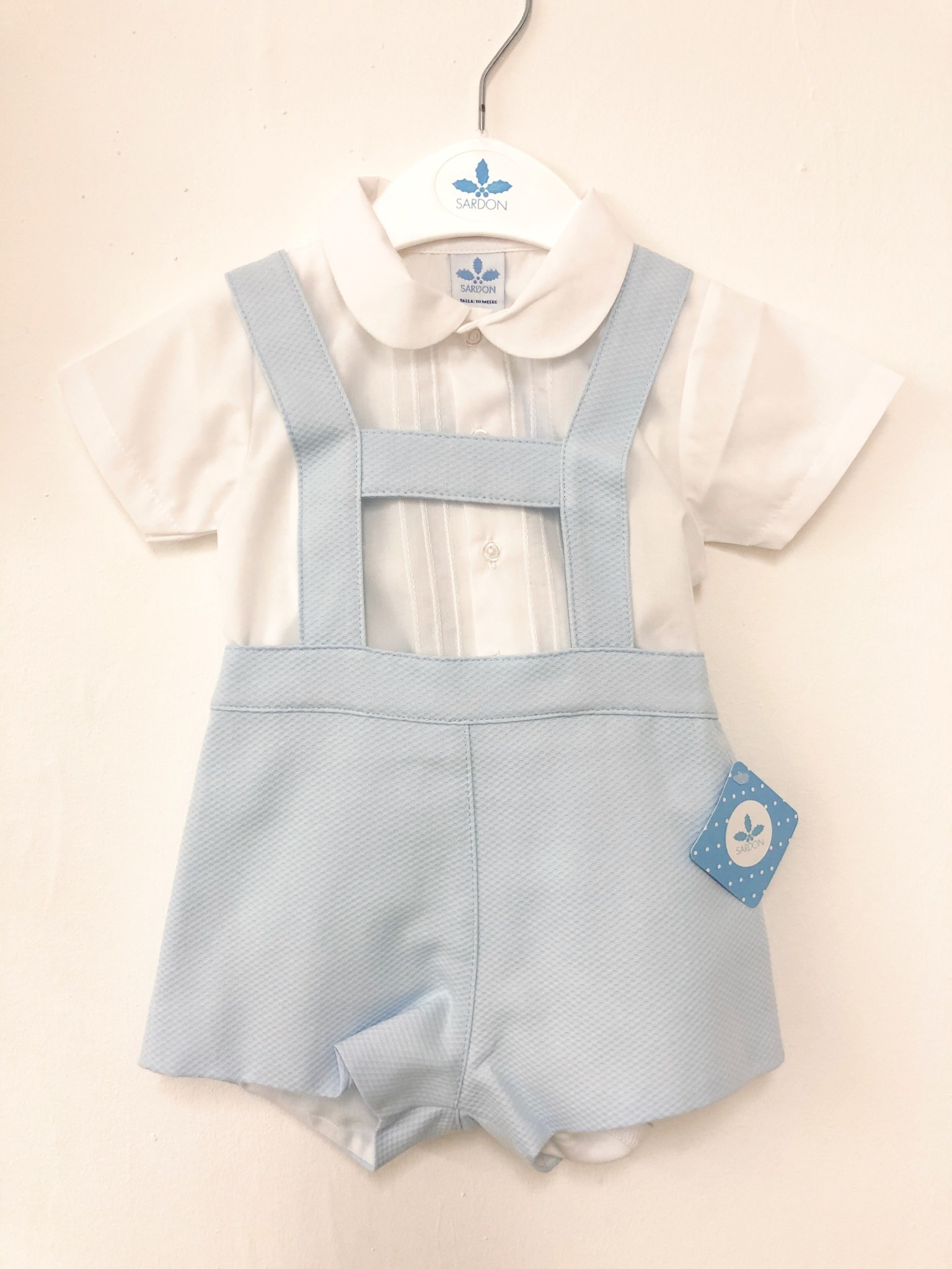 Sardon Sardon 20AB-03 Pale Blue Dungaree/ Shirt Set