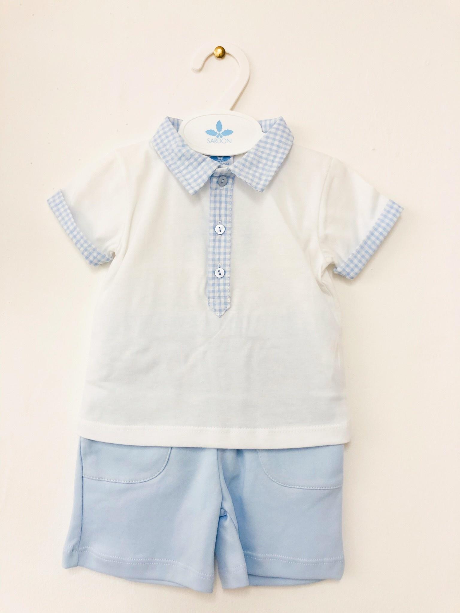 Sardon Sardon 20CO-528 Check Collar & Shorts Set