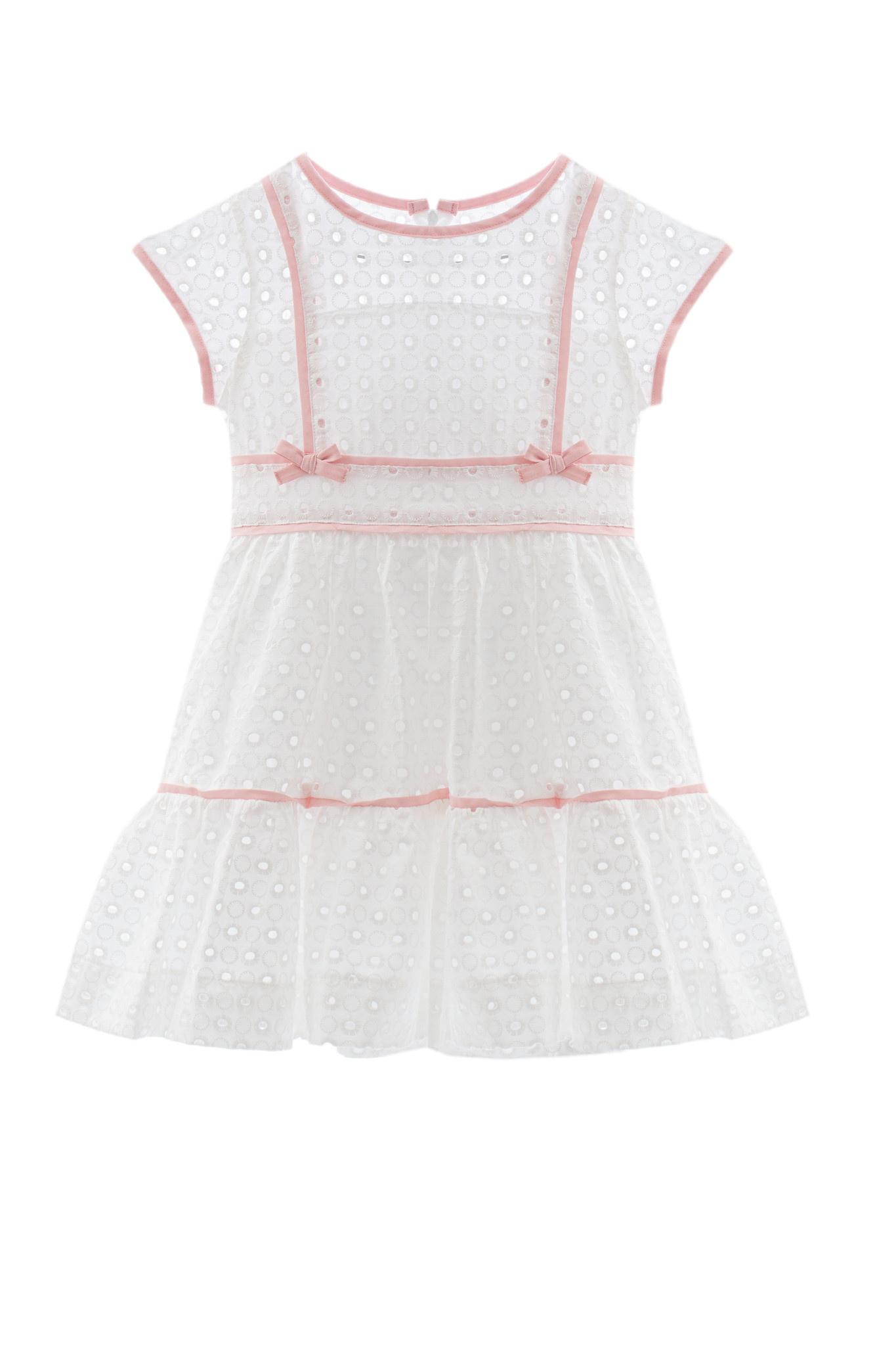 Patachou Patachou 412 White Dress with Pink Trim & Cap Sleeves